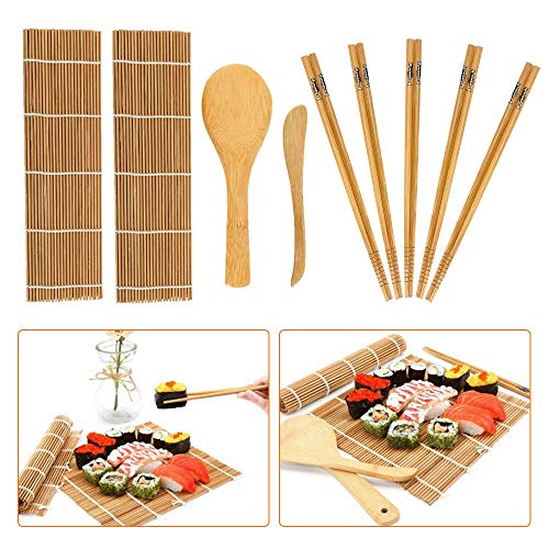 Kit per fare sushi in bambù, 9 pezzi, tappetino per arrotolare il sushi, include 2 tappetini in bambù, 5 paia di bacchette,...