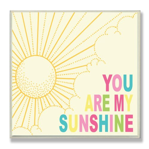 The Kids Room by Stupell You are My Sunshine Rainbow Typography Square Wall Plaque, 11 x 0.5 x 15, Proudly Made in USA