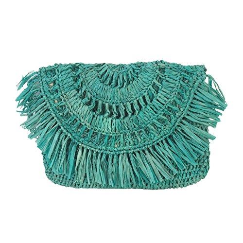 Mar Y Sol Mia Crochet Raffia Fringe Clutch, Turquoise