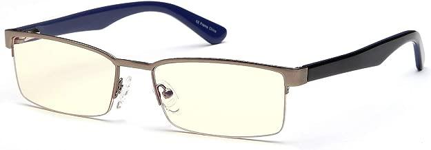 Gamma Ray Blue Light Blocking Glasses - Amber Tint - Anti Glare Eye Strain for Computer Gaming TV Digital Screens - 0.00
