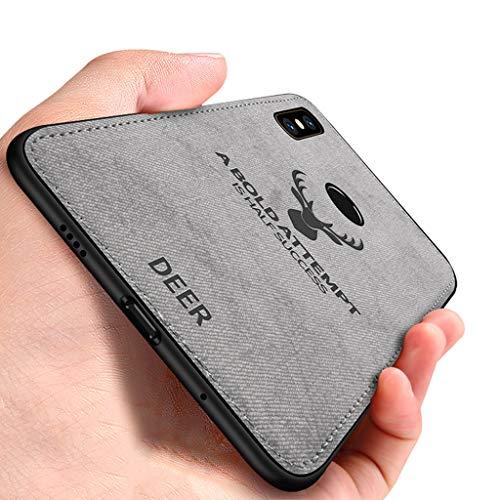 Yoodi Capa Xiaomi Mi Mix 2S, capa de tecido de arte de cabeça de veado macia de poliuretano termoplástico com absorção de choque, capa híbrida para Xiaomi Mi Mix 2S - cinza