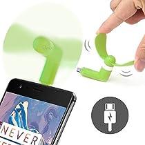 onx3Videocon Infinium Zest Flameモバイル携帯電話ポータブルポケットサイズのファンアクセサリー2in 1コネクタfor Android Micro USBとiOS iPhone GREEN-FAN-216112