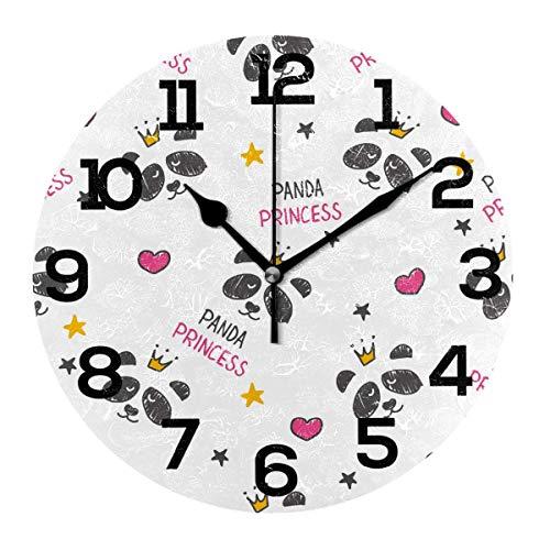 REAlCOOL s Head Hearts Crown Reloj de Pared Redondo Reloj de Escritorio silencioso sin tictac Reloj con Pilas para la decoración de la Escuela de la Oficina en casa