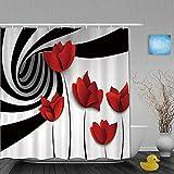 Honeytecs Duschvorhang,Schwarz-Weiß-Streifen Rote Mohnblumen Blume Vortex Spiral Swirling Creative,Stoff Badezimmer Dekor Set mit Kunststoffhaken, enthalten - 180x200cm