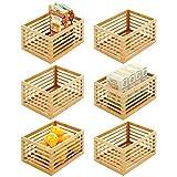 mDesign Organizador de cocina de bambú – Caja de almacenaje ecológica para el armario de la cocina, la estantería o la encimera – Caja multiusos para alimentos – Juego de 6 – color natural