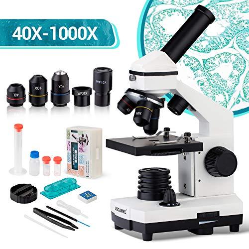Microscopio de actualización 40X-1000X para niños, estudiantes y adultos, potente microscopio biológico para niños, para laboratorios escolares, hogar, investigación científica biológica