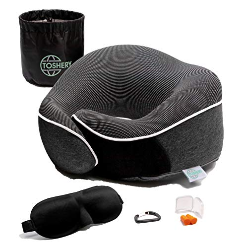 TOSHERY Memory Foam Neck Pillow for Airplane Travel, Full Head Support, Comfortable, Breathable, Machine Washable Cover, Travel Kit with 3D Eye Mask, Earplugs, Carabiner clamp