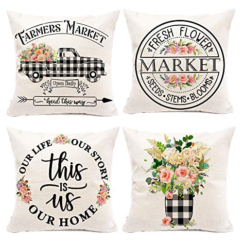 Hexagram Floral Farmhouse Pillow Covers 20x20 Set of 4, Buffalo Plaid Spring Pillow Covers,Farmhouse Truck with Flower Decorative Summer Pillow Covers,Outdoor Home Sofa Decorations