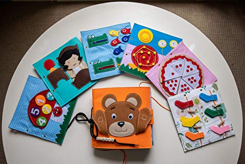 Busy Bear Book | Busy Book | Quiet Book | Montessori Book | Toddler Activity Book | for Ages 2.5 - 7 Years | Handmade from Felt Material