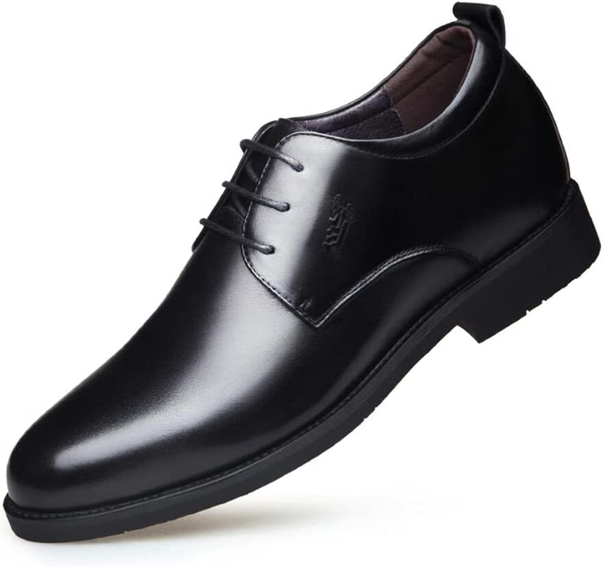 LHRFC Leather Shoes Men's Inner Increase 6 Business Formal Wear Leather Shoes Breathable Pointed Toe Korean Men's Shoes Men's Wedding Shoes Black-EU40
