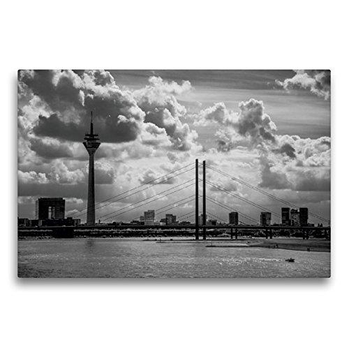 Premium Textil-Leinwand 75 x 50 cm Quer-Format Skyline von Düsseldorf | Wandbild, HD-Bild auf Keilrahmen, Fertigbild auf hochwertigem Vlies, Leinwanddruck von Micaela Abel