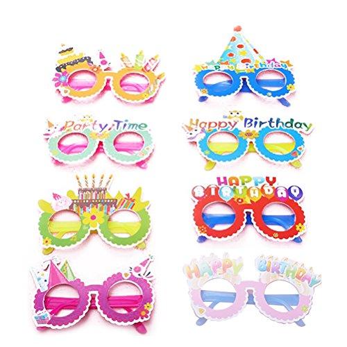 TOYMYTOY 12pcs Gafas de Fiesta,Gafas de Papel Novedad Juguete Feliz cumpleaños Fiesta Marcos de anteojos Photo Prop Party Supplies (Color al Azar)