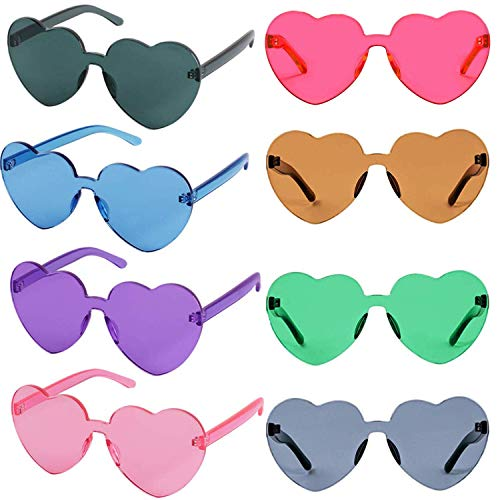 FSMILING 8er Bunte Herz Sonnenbrille Lustige Randlos Transparent Farbige Party Brille Für Karneval/Fasching (8 Stück sonnenbrille herzform)