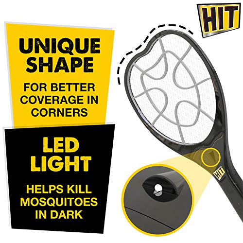 HIT Anti Mosquito Racquet - Rechargeable Insect Killer Bat with LED Light (6 Months Warranty)