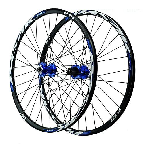 LvTu Bicicleta de Montaña Juego de Ruedas MTB 26/27,5/29 Pulgadas Aleación Freno de Disco Rodamiento Sellado Rueda de Bicicleta 7-12 Velocidades Casete 32H Llanta (Color : Blue, Size : 26 Inch)