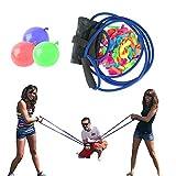 TZUTOGETHER Wasserballonwerfer Long Range mit 100 Ballons, 3 Mann Schleuder Wasserbomben-Wasserraketen-Kit,Schleuder wasserbombe Wasserballons, Wasserspielzeug für Kinder Outdoor Yard Games