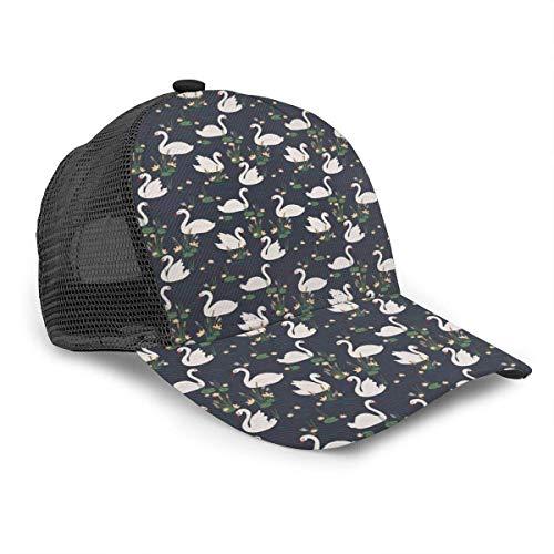 Unisex Baseball Cap Swan Teich Lilien Rohrkolben Blue Lake Snapback Bill Hip Hop Hüte Trucker Hut für Männer Frauen