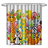 <span class='highlight'><span class='highlight'>TimBeve</span></span> Shower Curtain Hooks 1st Birthday,Kids Party with Baby Safari Animals Zebra Lion Balloons Backdrop Colorful,Multicolor,Hand Drawing Effect Fabric Shower Curtains 72