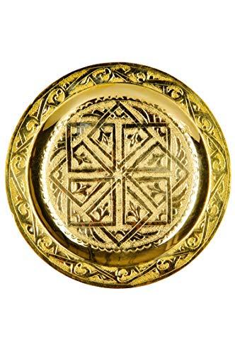 Orientalisches rundes Tablett aus Messing Mehdia 16cm Deko Gold | Marokkanisches Teetablett in der Farbe Golden | Orient Goldtablett goldfarbig | Orientalische Dekoration auf dem gedeckten Tisch