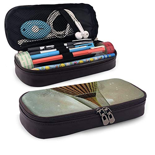 Pencil Case Big Capacity Storage Holder Desk Pen Pencil Marker Stationery Organizer Pencil Pouch with Zipper,Fantasy World Hot Air Balloon Rising In The Night Sky Full Of Stars Themed Print