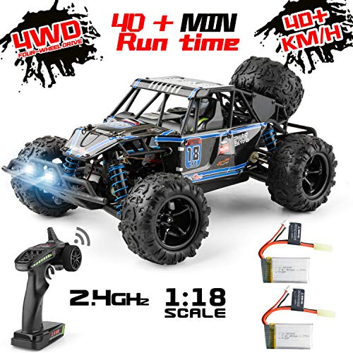 Remote Control Car, 4WD 1:18 Scale High Speed 40+ km/h Off Road Monster Toys RC Truck for Kids and Adults, MiraTekk Waterproof 2.4Ghz Radio Controlled RC Car 2 Rechargeable Batteries for 40+ Min Play