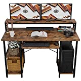 IRONCK Computer Desk 47', Home Office PC Desk with Keyboard Tray Monitor Stand Storage Shelf CPU Stand, Modern Study Writing Table for Home Office
