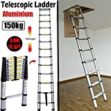 Best Attic Ladders - 3.8M 12.5FT Aluminum Telescoping Collapsible Roof Climbing Ladder Review