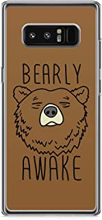 Samsung Note 8 Transparent Edge Phone Case Bearly Phone Case Sleepy Phone Case Awake Note 8 Cover with Transparent Frame