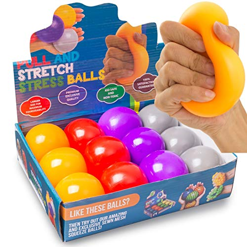 Durable Pull and Stretch Stress Squeeze Ball - Great and Fun Squishy Party Favor Fidget Toy - Excellent Sensory Relief for Tension and Anxiety (12 Pack, Large)
