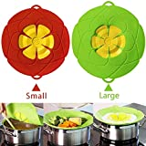 Spill Stopper Lid Cover, Large and Small Size, 2Pcs Boil Over Safeguard, Silicone Spill Stopper Lid Splatter Guard Screens, Multi-Function Kitchen Cooking Tool, Green and Red