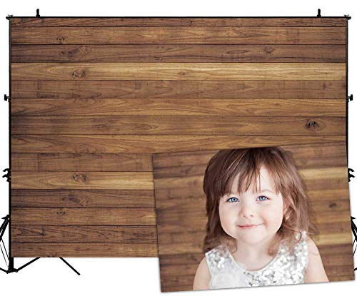 Allenjoy 7x5ft Vinyl Wood Wall Backdrop Rustic Brown Wooden Board Wall Photo Background Newborn Photography Props Baby Shower Kids Birthday Party Banner Photographer Photoshoot Props