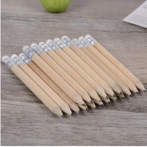 PiniceCore 5 PCS Mini Größe Einfaches Holz Bleistift mit Radiergummi Log Bleistift Kurz Größe Bleistift für Kinder und Kinder
