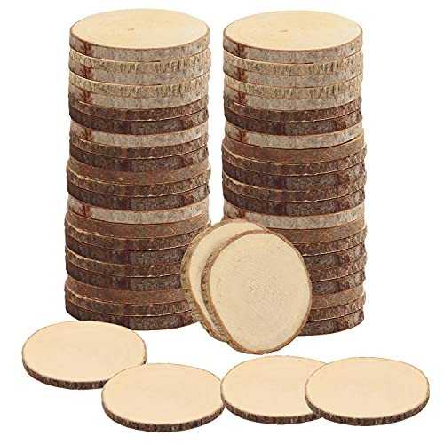 Kurtzy Natürliche Runde Holzscheiben zum Basteln (50er Pack) - 6-7cm Durchmesser - Holzscheiben Rund mit Rinde und Ohne Loch - Holzschilder zum Beschriften für DIY Kunst und Weihnachtsschmuck
