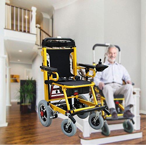 Fabio Elektrischer Treppensteiger – Rollstuhl, 120 kg, Treppenhebe-Sessel, Aluminium, leicht, Krankenwagen-Hebebühne (gelb)