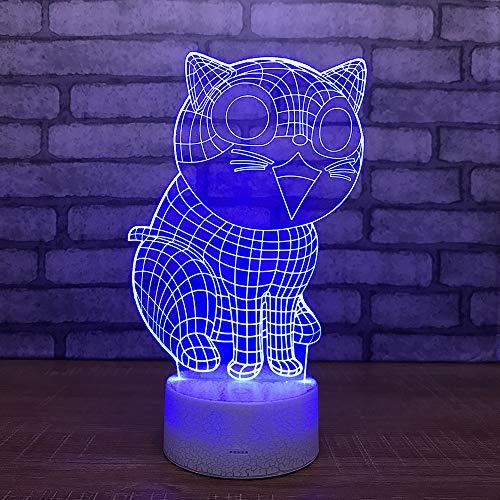 Yoppg 3D Nachtlicht Touch Switch LED7 Farbe Desktop Optische Täuschung Usb oder Batteriebetriebene Großes Gesicht Katze Allgemein