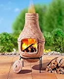Fire Pit clay Chiminea Outdoor Garden BBQ grill Pizza Oven Wood Burning Charcoal made in pure terracotta for outdoor cooking Firepit -Terracotta color