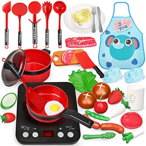 37PCS Utensilios Cocina Juguete con Delantal, Sartenes, Olla, Verduras Accesorios Cocina Juguetes Juegos de Cocinar Regalo para Niños 3 Años