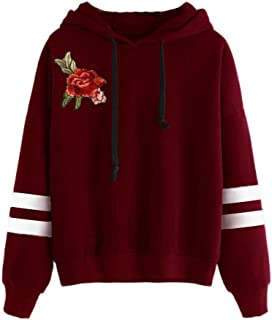 Women Sweatshirt Rose Embroidery Applique Long Sleeve Jumper Hooded Pullover Hoodie