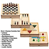 Best Chinese Checkers Game Sets - Wooden 9-in-1 Chess, Checkers, Backgammon, Chinese Checkers, Playing Review