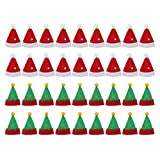 Amosfun 36 Piezas Mini Sombrero de Navidad Gorro de Elfo Sombrero de Piruleta Dulces Bolsa de Botellas de Vino Navidad Decoración de Mesa Accesorio de Navidad