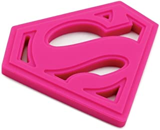 Superman Silicone Teether - Bumkins - DC Comics Pink
