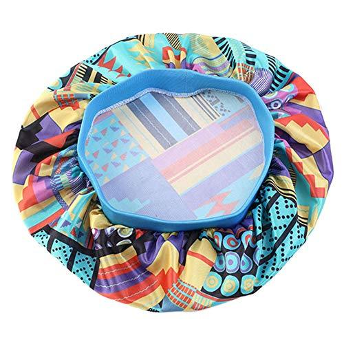 sisn Bonnet de nuit en satin de soie pour la beauté des cheveux, tissu de luxe avec bande élastique de qualité - Bleu - Medium