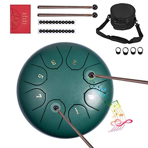 Stahlzungentrommel - careslong Percussion Instrument Lotus Hand Pan Drum 6 Zoll 8 Tönen Mit Gepolsterter Reisetasche Mallets Mallet Bracket Tonic Sticker Und Finger Sleeve (6 Inches Grün)