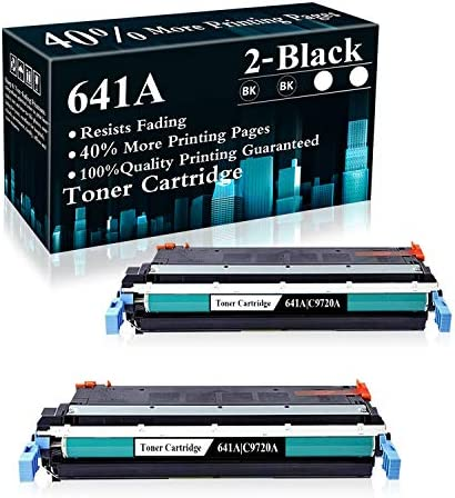 2 Black 641A C9720A Remanufactured Toner Cartridge Replacement for HP Color Laserjet 4600 4600dn product image