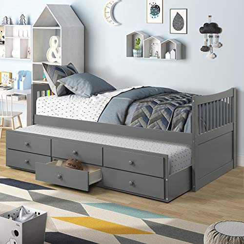 Storage Twin Daybed with Trundle and 3 Storage Drawers Platform Bed Frame with Headboard Footboard Kids Bed (Grey)