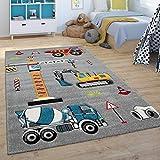 Paco Home Kinder-Teppich, Spiel-Teppich Für Kinderzimmer, Bagger, Kran, Baustelle, Grau, Grösse:120x170 cm