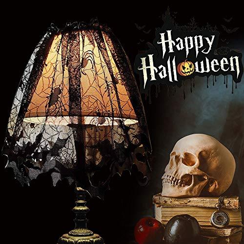 CODIRATO 2 Stück Halloween Lampenschirm Spitze Fledermaus Spinnen Lampenschirm Schwarze Gothic Lampenschirm Halloween Dekoration für Lampe, Kamin, Fenster, Tisch, 152 x 501cm