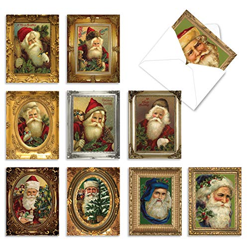 The Best Card Company - 10 Santa Christmas Note Cards with Envelopes - Assorted Boxed Set, Kids Holiday Cards (4 x 5.12 Inch) (Not Foil) - Picture-Perfect Santas M1746XS
