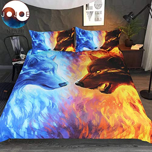 Fire Ice by JoJoesArt Bedding Set 3pcs 3D ICY Hot Wolf Bed Set Blue and Orange Duvet Cover (Full)