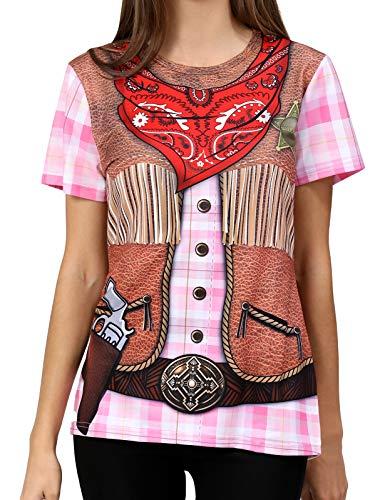 COSAVOROCK Disfraz de Vaquero para Mujer Camiseta (XXL, Rosa)